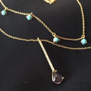 Anthropologie DELICATE dual drop necklace Turq Gem